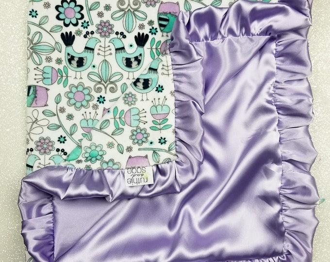 Minky Blanket, aqua blanket, lavender and aqua, baby girl, satin blanket, silk blanket, minky and satin, baby blanket, mint and purple, gift