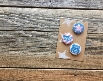 """Stars and Stripes, United We Stand, America, Route 66, Americana Style Buttons, Red White & Blue, 1"""" Buttons, Buttons Pins Badges, Set of 3"""
