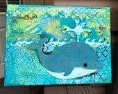Whale Mixed Media Canvas, Whale Painting, Blue Whale Painting, Whale Nursery Decor, Baby Boy Nursery, Whale Decor, Original Mixed Media