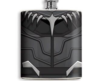 Black Panther Mens Flask Superhero Guys inspired Black Flask Superhero Drinking Liquor Avenger Groomsmen Gift Wedding Comic Hip Flask Pocket