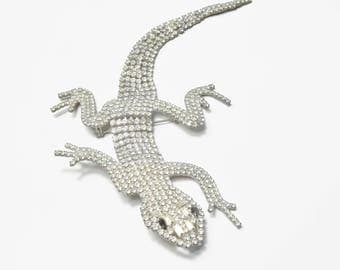 """Vintage 1950's Rhinestone Encrusted Large 7.5"""" Articulated Lizard / Gecko Shoulder Costume Jewelry Brooch Pin Gift For Her on Etsy"""