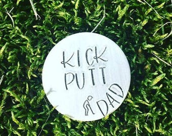 Kick Putt Golf Ball Marker for Dad - Personalized Golf Ball Marker with Leather Case - Gift for Dad - Golfer Gift - KeyChain - Dad Father