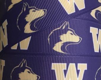 7/8 Inch Grosgrain Ribbon - Printed Grosgrain Ribbon - Washington Huskies Ribbon  - Ribbon By The Yard - Ribbon Supply -  Collegiate Ribbon