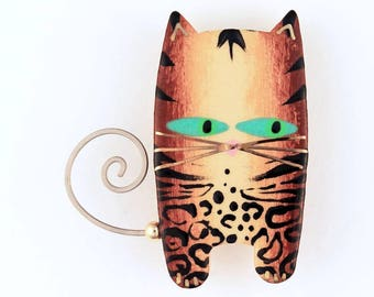 Cat Pin Cat Brooch in Leopard Print Handmade Ceramic with 22k Gold Accents by Sean Brown
