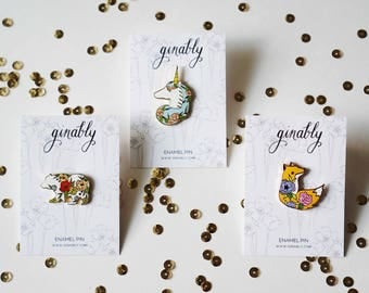 B-Grade, C-Grade Seconds Sale Bear and Unicorn Hard Enamel Pin