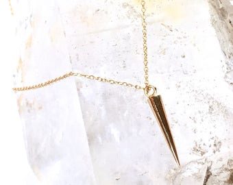 Spike Necklace -Petite style -Silver Rhodium or Gold Vermeil