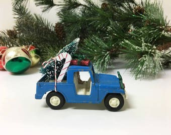 Vintage Toy Car Decorated for Christmas/ Tootsie Toy Jeep / Miniature Toy Christmas Car / Mini Christmas Decoration / OOAK