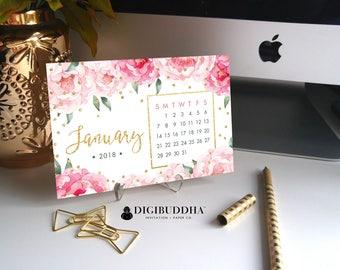 2018 PLANNER Desk Calendar 2018 Pretty Planner Desk Accessories Office Accessories 2018 Calendar Floral Calendar Office Calendar - Jenn