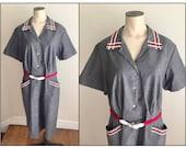 Vintage 1950s 60s Women's Misses' Grey Cotton Day Dress 14 16
