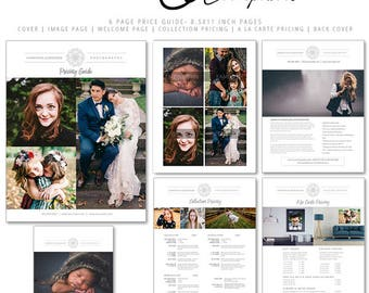 Photography Price Guide, Pricing Template for Photographers, Photography Templates, Modern Zone 6 Page Price Guide, MZP204