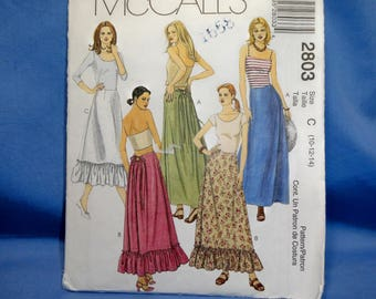 McCalls 2803 Sewing Pattern, Tie Back Skirt, 10 - 12 - 14
