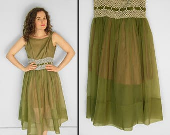 1950s OLIVE Green Dress + Eyelet Lace Trim Sheer Skirt Boatneck Sewing Project