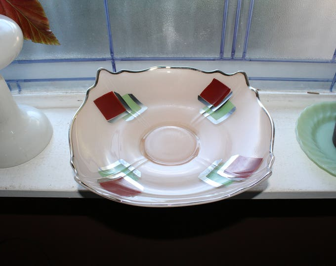 Art Deco Bowl Indiana Glass Tan Red Green with Silver Trim 1930s