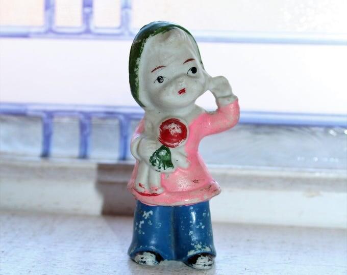 Vintage Bisque Doll Frozen Charlotte Girl Holding Doll