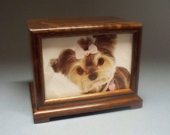 Free Shipping in the U.S., Walnut Pet Urn, 90 c.i.-Wooden Pet Urn, Urn for Pet, Photo Urn with Lacquer Finish