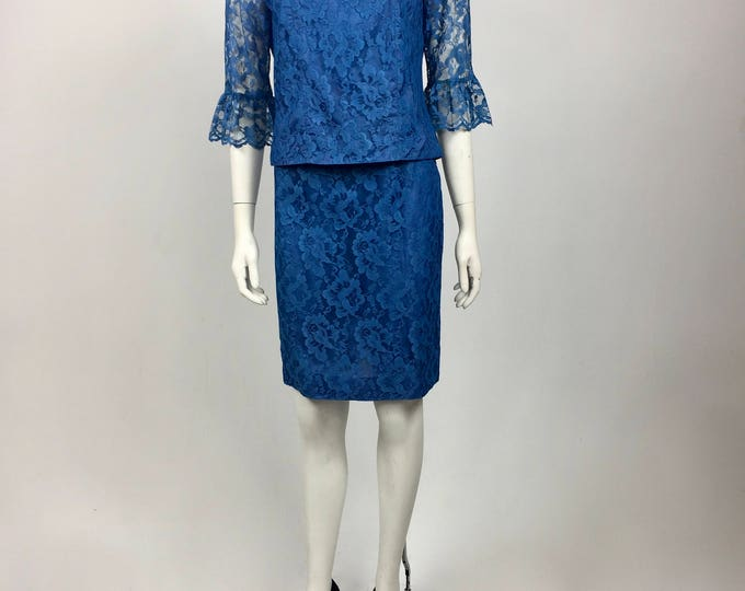 Vintage 1960's Turquoise Blue Lace Two Piece Top and Skirt Set - Chantilly Lace - Bell Sleeves and Pencil Skirt - Ladies 4 to 6