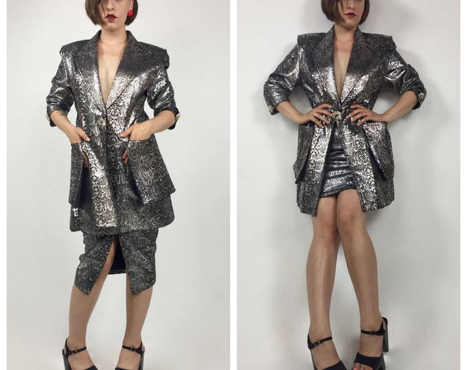 Vintage 1980's Silver and Black Snake Print Suede Power Suit - Metallic Leather - Leopard Brooches - Convertible Skirt - Ladies Size 4 to 6