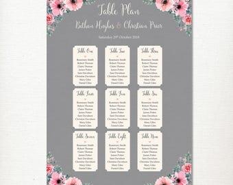 Wedding Table Seating Plan, Grey Pink Flowers Watercolour, Printable, Classic, Vintage, Rustic, Romantic, DIGITAL FILE