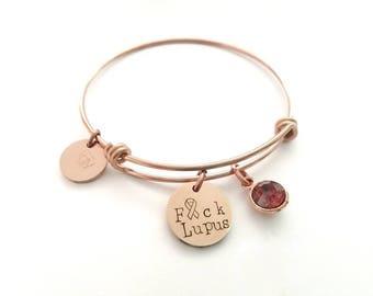 Lupus Bracelet - Lupus Awareness Bracelet - F Lupus Bracelet - Lupus Ribbon Bracelet - Fight Lupus Bracelet - Awareness Charm Bracelet