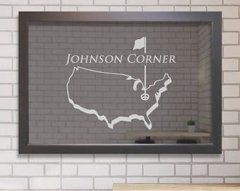 Custom Bar Mirror (Golf): Custom Engraved Bar Mirror, Large Personalized Golf Bar Mirror, Etched Bar Mirror, Golf Theme Home Bar Mirror