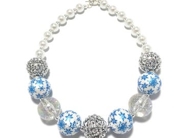 Toddler or Girls Silver, Blue and White Snowflake Chunky Necklace - Snowflake Necklace - Winter Wonderland Necklace - Royal Blue and White
