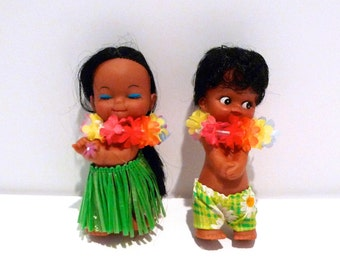 Aloha Hawaii Dolls Vintage Hula Girl and Boy Couple 1960s 1970s Hula Dancer Couple Grass Skirt Menehune Boy Polynesian Tiki Luau Cute Kitsch
