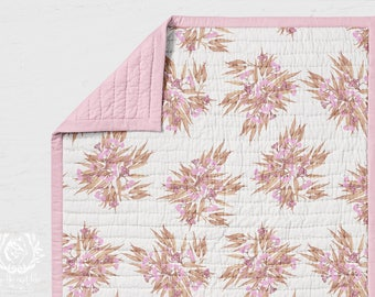 Cot Quilt Eucalyptus Rose Gold Pink. Quilted Rectangle Wholecloth Kids Quilt. Printed in Australia. Made to Order. Ships in 4-6 weeks