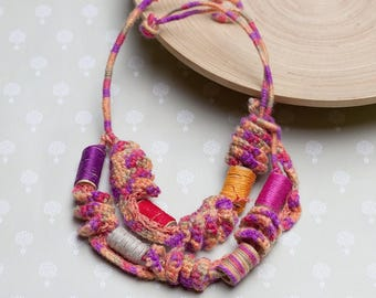 Colorful statement necklace, rustic crochet jewelry with bamboo beads, orange pink, OOAK