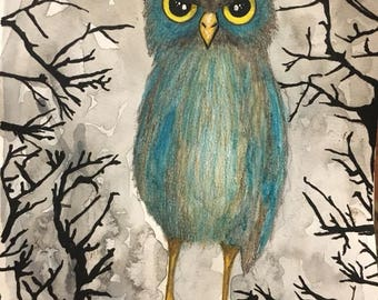 ORIGINAL SMALL 7x10 inch Halloween Cute Annoyed Owl Watercolor Painting on paper // gray, tree, branches, blue, big eyes