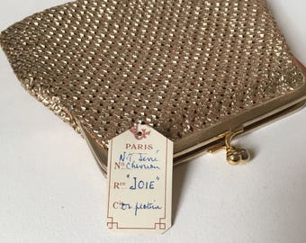 Vintage gold woven French  clutch purse satin  60 ' s