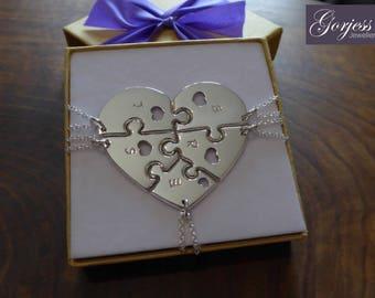 Five Piece Heart Necklace - Silver Puzzle Piece - Puzzle Pendants - Best Friend Puzzles