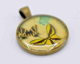 Resin Pendant, Butterflys, Yellow, Black, Blue,  Round, 1 inch, Necklace, For he