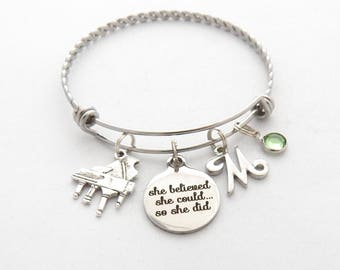 Piano Gifts- Piano JEWELRY-Piano Bracelet-Piano charm Bracelet-Piano recital Gift- Gifts for Music Teachers- Gifts for Piano player-Pianist