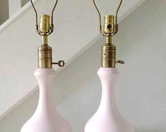 Vintage Mid Century Lamp Pink Ceramic Table Lamp