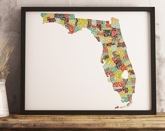 Florida map art print, available Framed or Unframed, Florida typography art, Florida art print, Florida state map, Florida wall décor