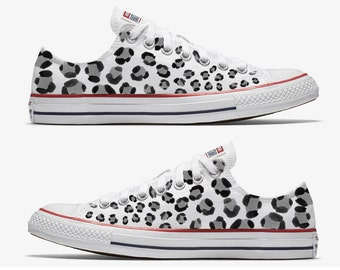 Converse Hand Painted White with Black Leopard Print