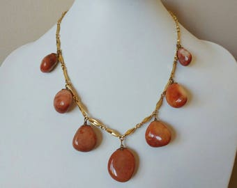 Pretty & Unique Vintage 1960's Natural Stone Necklace- Orange Red Brown Earthy Sand Colour Statement Piece Boho Hippie Gold Tone