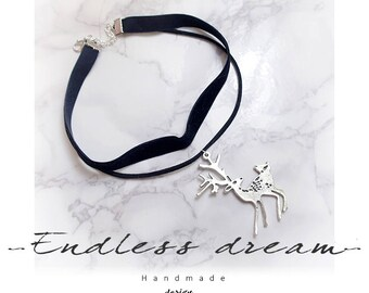 Choker Necklace Bambie Deer double layer velvet black Chokers Jewelry Handmade , Gothic goth Lolita steampunk