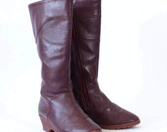 Vintage Women's Burgundy Leather Heeled Wedge Calf Boots UK 4 EU 37 US 6