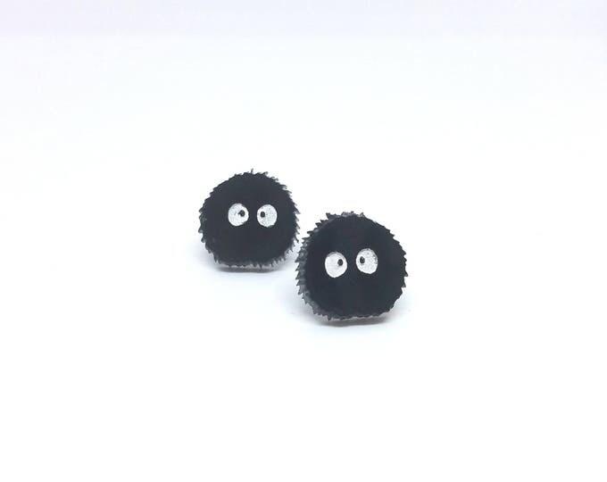 Soot Sprite Earrings | Laser Cut Jewelry | Hypoallergenic Studs |  Acrylic Earrings