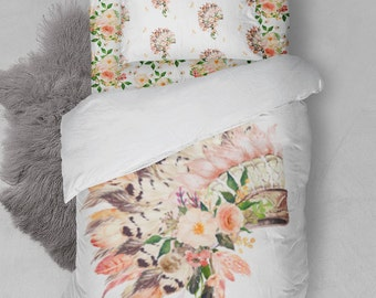 Boho Twin Bedding Duvet Cover Comforter Sheets Sham Headdress Feathers Floral  Girl Aztec Indian Boho Headdress Feathers Dream Catcher