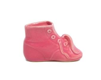 Vintage Pink Baby Bootie Planter Art Pottery Shoe Vase Baby Shower Nursery Decor Childs Room Miniature Shoe Pot