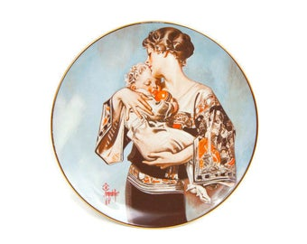 Vintage Leyendecker Collector Plate Mothers Day 1977 Plate Number 4 of 10000 Porcelain Plate Ridgewood Industries Mother and Child