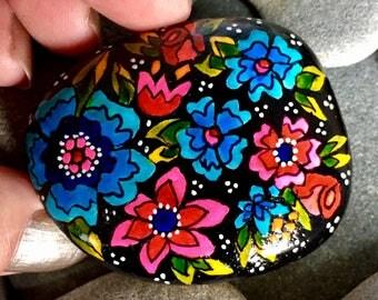 midnight garden / painted rocks/ painted stones/ rock art / hand painted rocks / boho art / hippie art / bohemian style / flowers on rocks