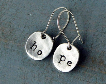 Hand Stamped Hope Earrings