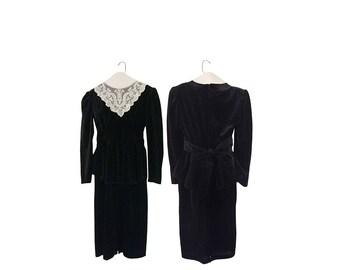 Black Velvet Dress Long Black Dress Black Victorian Dress Victorian Gothic Dress Peplum Dress Winter Dress Black Evening Dress Long Sleeve