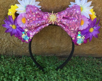 Ready to Ship Sequin Tangled Rapunzel inspired floral Mouse Ears Flower Crown Headband LIMITED