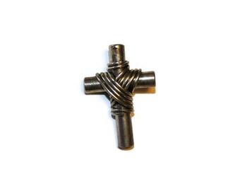 Wire Wrapped Steel Cross Pendant