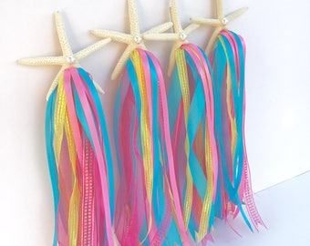 Starfish Wand, Mermaid Party, Fairy Wand, PRINCESS Party, Under the Sea, Party Favor, ANY color