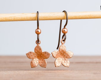 Polkadot Copper Flower Drop Earrings with Hypoallergenic Niobium Ear Wires